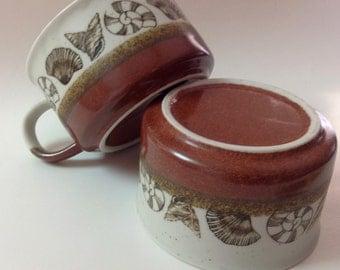 Vintage Otagiri Seashell Soup Mugs, Bowls, Set of 2, Japanese Speckled Stoneware Handled Soup Mugs