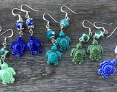 Ceramic Pottery Turtle Dangle Earrings - 5 Color Choices - Beach Summer Ocean Sea Turtle Earrings - Crystal and Genuine Stone
