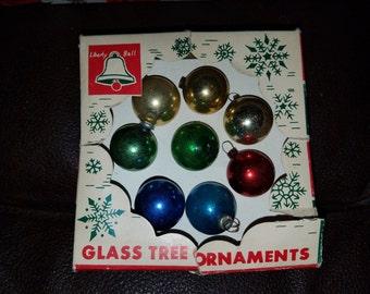 Vintage Set of 8 Mercury Glass Christmas Bulbs