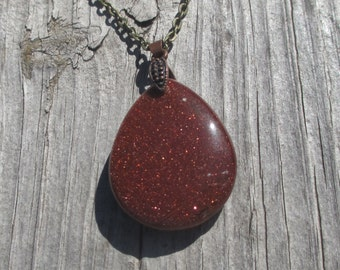 Antique Bronze and Goldstone Necklace