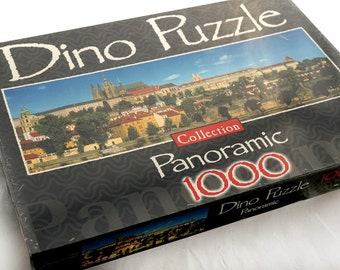 Mint Jigsaw Puzzle 1000 pieces New Sealed, Complete Vintage Dino Puzzle, Panorama of Prague Castle Charles Bridge Photo, Europe City Travel