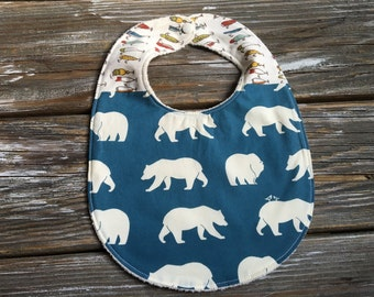 ORGANIC Bib ~ Two Toned/Quilted ~ Woodland//Bear//Tribal//Forest//Lures//Camp//Hike//Native