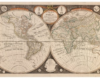 1799 World Map by Kitchen & Evans  -  Wall Map Reprint