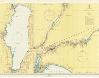 Lake Winnebago Map Etsy - Map of wisconsin lakes and rivers
