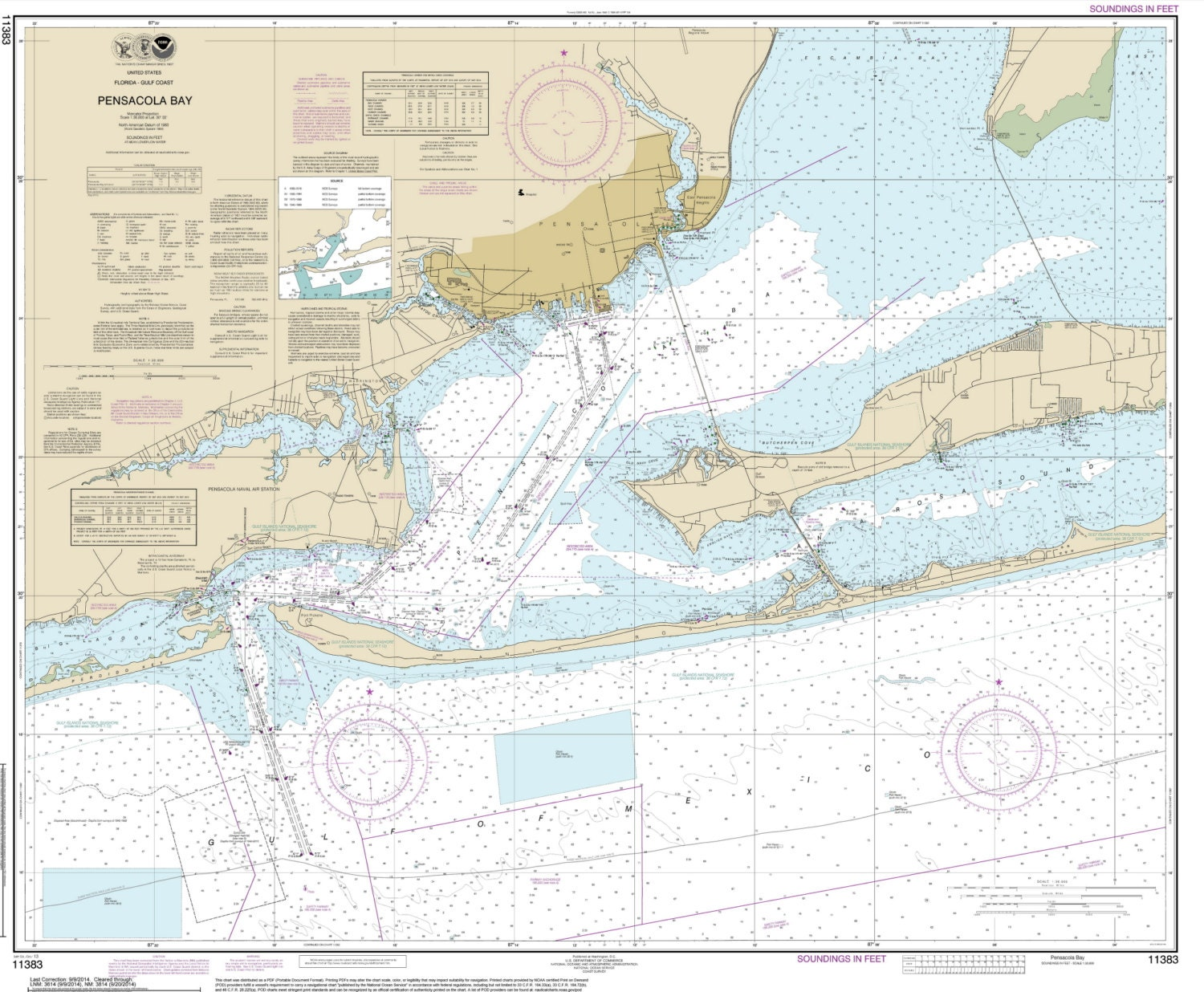 Pensacola bay entrance 2014 map old nautical chart florida for Pensacola bay fishing
