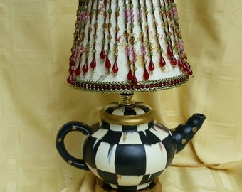 Sale Whimsical Black and White  Check Accent Teapot Lamp  Nightlight