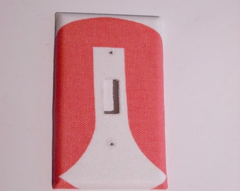 50% off! Closing SALE /  Modern Coral switchplate light switch plate cover fabric light plate cover - Made to Order