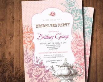 Shabby chic Bridal Tea Party invitation. DIY card. Roses. Digital Printable card