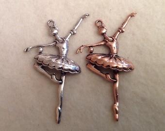 Ballerina Pendants in Red Copper (Gone)  or Silver Tone (10)