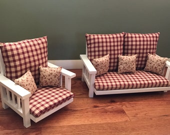 Sofa and Chair Set for your American Girl doll or any 18 inch doll