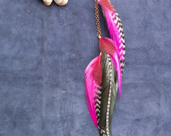 Coral Red/Pink Single Feather Earring