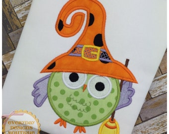 Witch Owl Applique Design for Machine Embroidery Instant Download