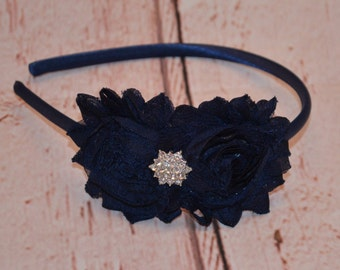 Navy Blue Shabby Chic Headband, Navy Blue Headband, Flower Headband, Girl Headband, Adult Headband,