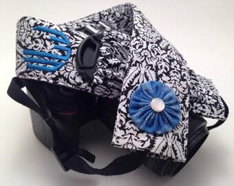 Black and White Damask with Blue Flower - Monogrammed DSLR Camera Strap Cover with Lens Cap Pocket