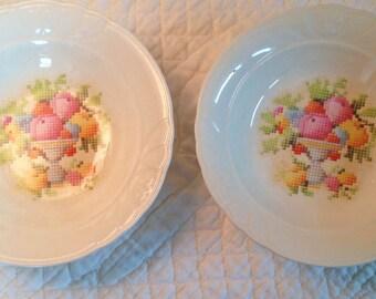 1930s Crown China Fruit Bowls - Set of 2
