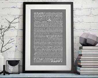 Desiderata print - desiderata poster - Max Ehrmann- typography art print- inspirational print - motivational art - typographic home decor