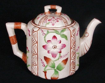 Antique English Aesthetic Movement Stoneware Teapot 1920s