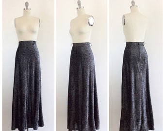 70s Silver and Black Lame Metallic Maxi Skirt / 1970s Vintage High Waisted Glitter Disco Skirt / Medium / Size 6