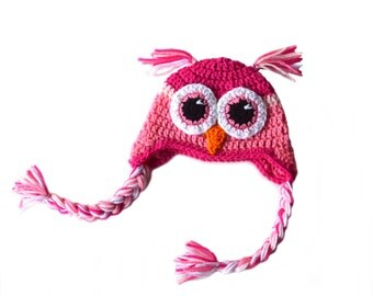 Girls Pink Owl Hat, Toddler Girls Hat, Owl Crochet Hat, Crochet Woodland Animal, Knit Owl Hat, Kids Pink Owl, Newborn Baby Girl Photography