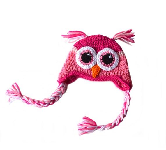 Girls Pink Owl Hat, Toddler Girls Hat, Owl Crochet Hat, Crochet Woodland Animal, Knit Owl Hat, Kids Pink Owl, Newborn Baby Girl Photography