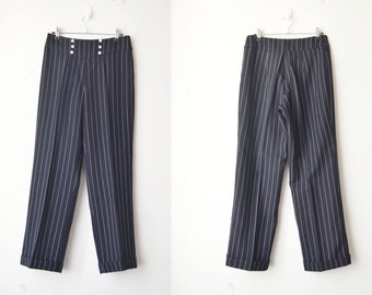 SALE // black and white striped tailor high waist minimal pant // M