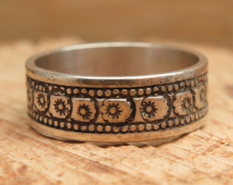 Sterling floral wide band ring 6.25