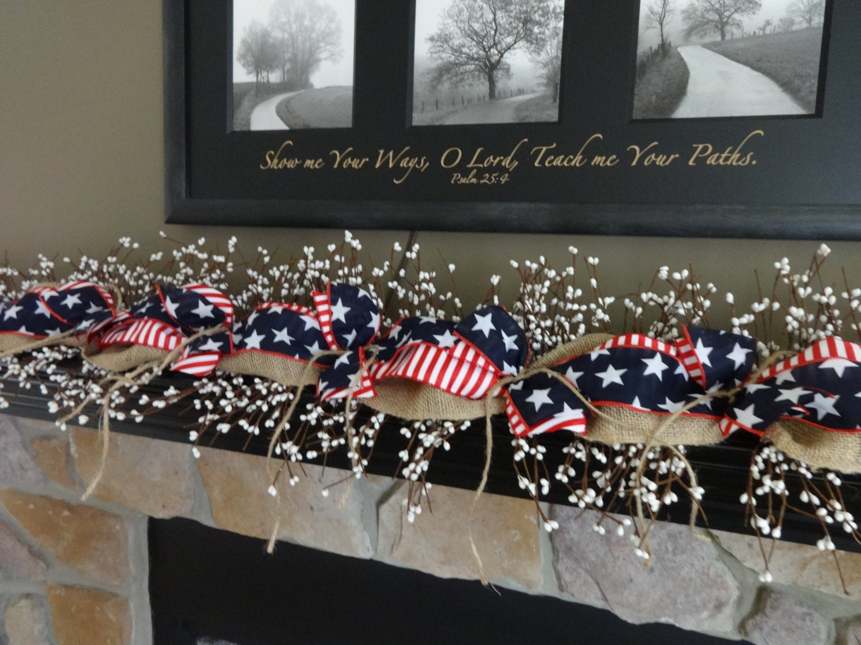 Patriotic Garland Memorial Day Decoration July 4th Garland