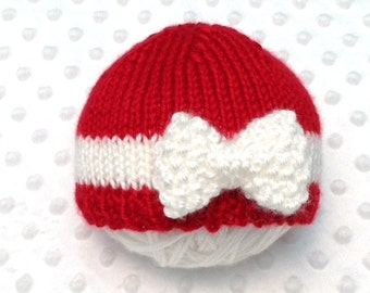 Red and White Baby Girl Hat - Red Newborn Hat - Red Baby Girl Hat - Red Baby Gift - Red Photo Prop - Christmas Baby Hat