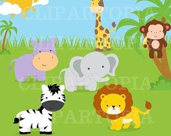 50% OFF SALE Jungle animals Digital Clipart / Safari Animals Digital Clip art for personal and commercial use /INSTANT Download