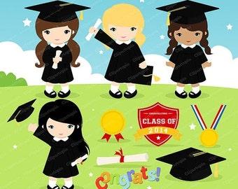 50% OFF SALE GRADUATION Girls Digital Clipart, Preschool, kindergarten graduation Clipart , graduate, grad clip art, instant download