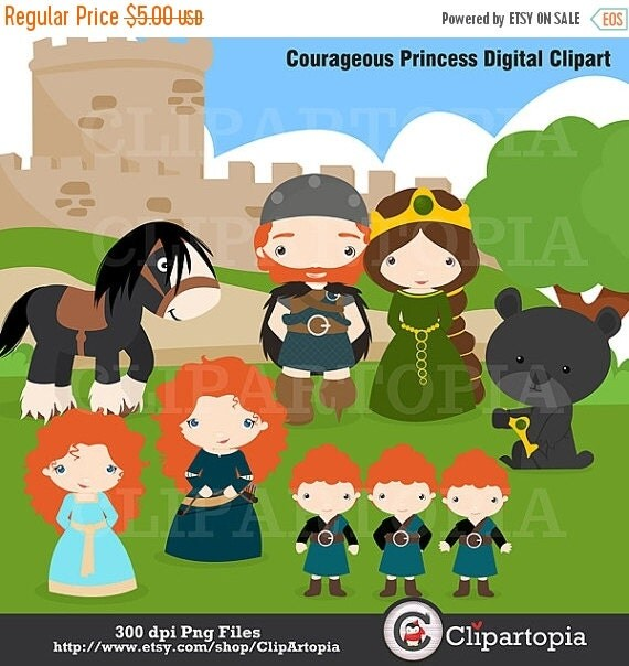 50% OFF SALE Courageous Princess Digital Clipart / Brave Princess Clip Art  For personal and commercial use / INSTANT Download