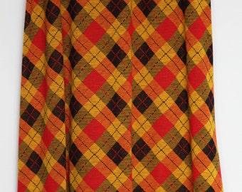 70s plaid maxi skirt M