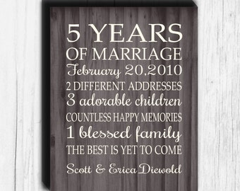 5 Year Anniversary Gift CANVAS Art Faux Wood Personalized Gift Important Dates Wedding Marriage Anniversary Canvas Print 5, 10, 20, 25, 40