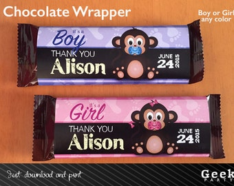 Cute Monkey Baby Shower Chalkboard  Chocolate Wrapper - Digital or Printed - Girl - Boy