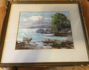 Beautiful Antique Framed Oil Painting, Seascape, signed Goodrick