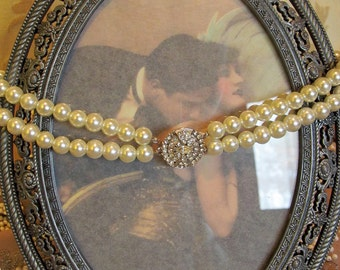 Vintage Double Strand Pearl Choker with Rhinestone Clasp