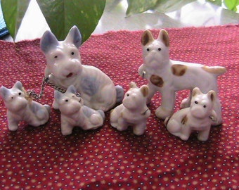 Miniature dog figurines, with puppies, chained 2 sets