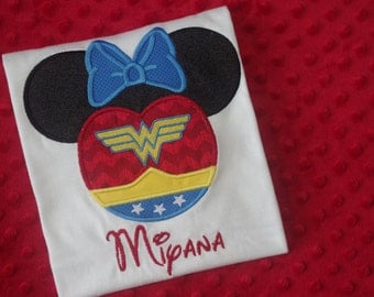 Wonder Woman - Marvel Super Heroes with Mickey Mouse Ears Appliquéd Shirts -- Disney Family Vacation Shirts