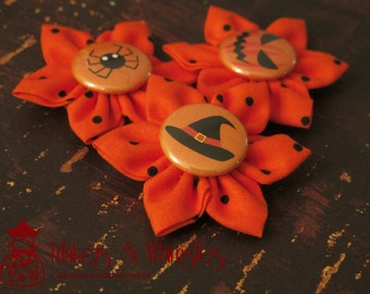 Witching Hours Fabric Kanzashi Flowers