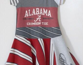 Upcycled University of Alabama dress, Crimson Tide, Game Day dress, Roll Tide, Alabama Girls dress, Twirl Dress, Upcycled Dress,  5/6