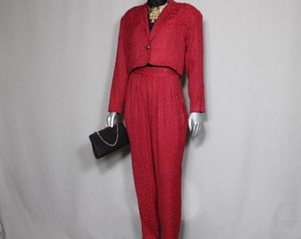 Maroon Crop Top High Waisted Wide Leg  80's Pants Suit