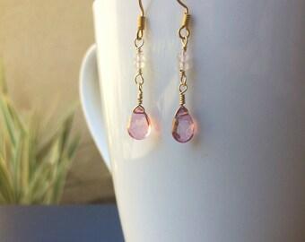 Rose Quartz & Pink Topaz Dangle Earrings