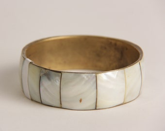 Vintage ivory pearl bangle brass color bracelet