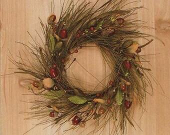 "12"" wide Cherokee Pine & Acorn Candle Ring Wreath Centerpiece Wedding Autumn Fall Decor"