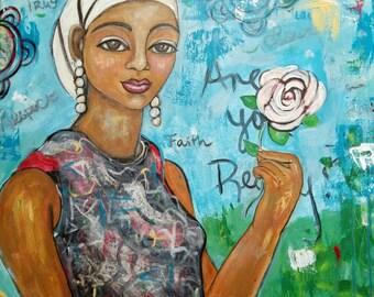Original 20x16 Modern African American portrait painting Canvas ArT