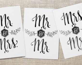 Mr. and Mrs. Wedding Card, Mr. and Mr. Wedding Card, Mrs. and Mrs. Wedding Card