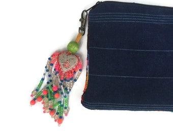 Beaded Triangle Heart Zipper Pull / Key Chain Thailand Fair Trade (005T)