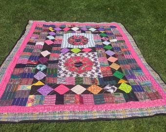 Patchwork Queen Seze Quilt -  Handmade From Repurposed Fabrics Guatemala