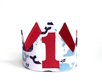 Whale first birthday crown