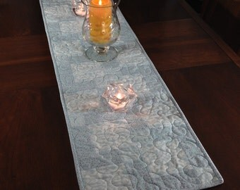 Soft Blue/SeafoamTablerunner, Reversible Quilted Table Runner, Modern Holiday Wallhanging, Quiltsy Handmade Runner,  Christmas Decor